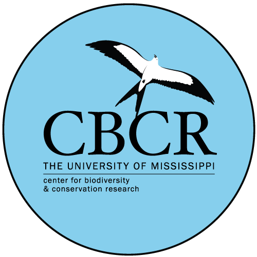 University of Mississippi Center for Biodiversity and Conservation Research logo: drawing of a seagull on top of CBCR letters